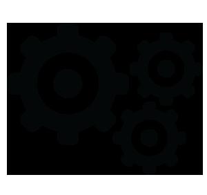 Ilustração de 3 engrenagens conectadas