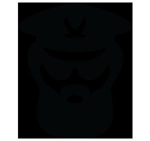 Ilustração do rosto de um homem barubo com óculos e chapéu de general
