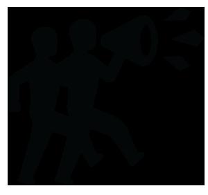 Ilustração de 2 manifestantes com um megafone