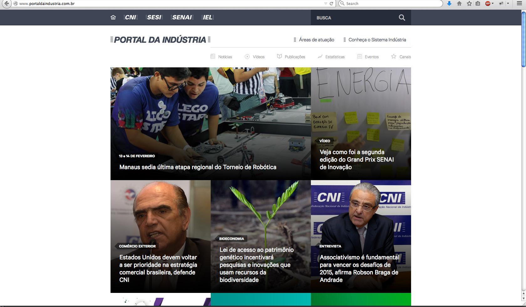 Tela inicial do site