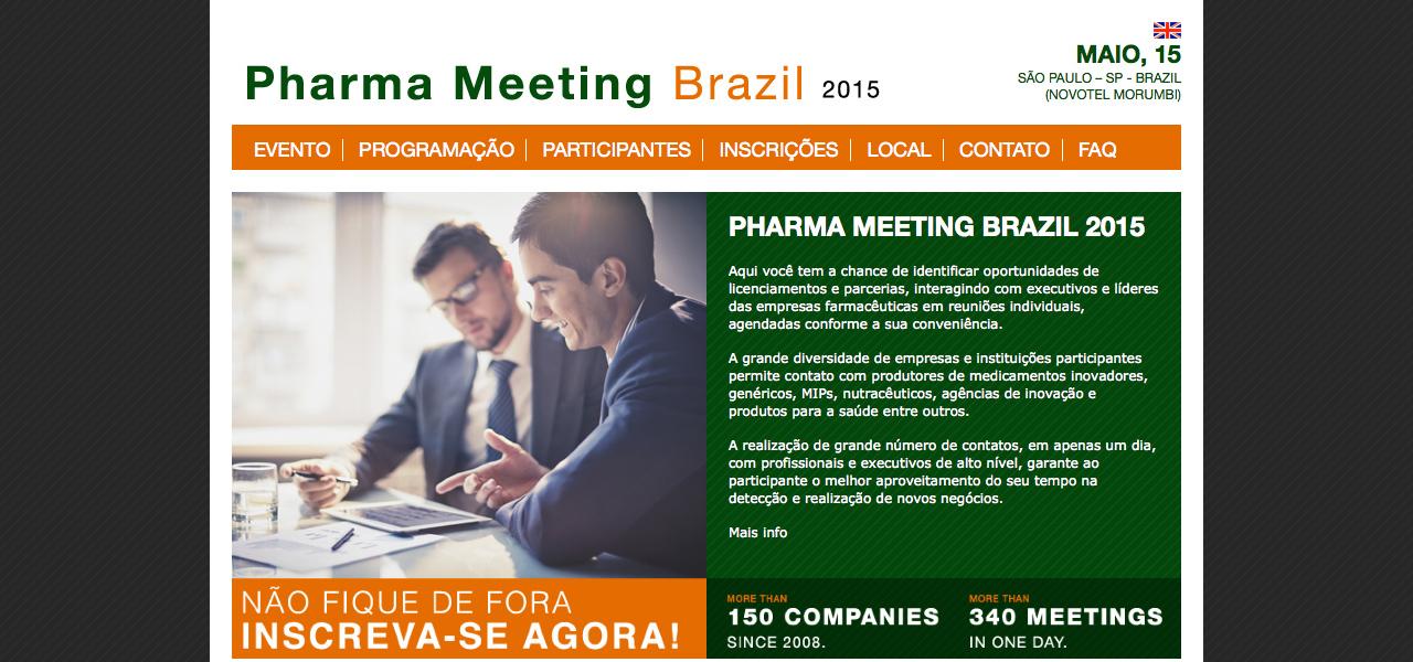 Página inicial do site PharmaMeeting Brazil
