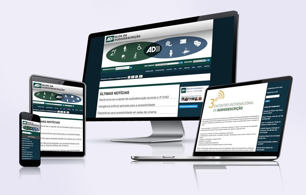 Site Blog da audiodescrição em vários dispositivos, desktop,notebook, tablet e celular