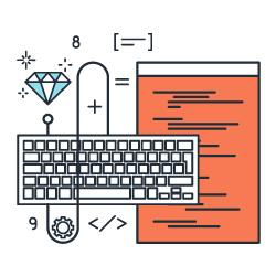 Ilustracnao de um teclado e uma página de código