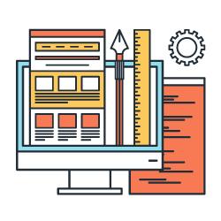 Ilustração de um computador com conteúdo saindo de dentro da tela