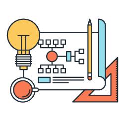 Ilustração de uma página com um fluxograma, ao lado um lápis, uma régua, uma lâmpada e um café
