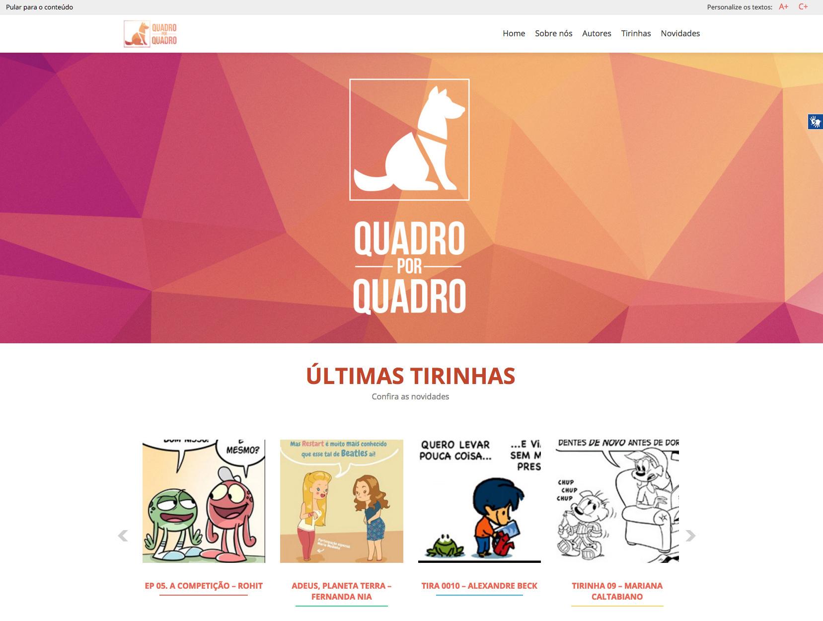 Na parte de cima do site temos o menu, abaixo uma imagem principal com o logo do projeto aplicado em um fundo de formas geométricas em tons de laranja e vermelho. Abaixo dessa imagem temos ums lista com as últimas tirinhas