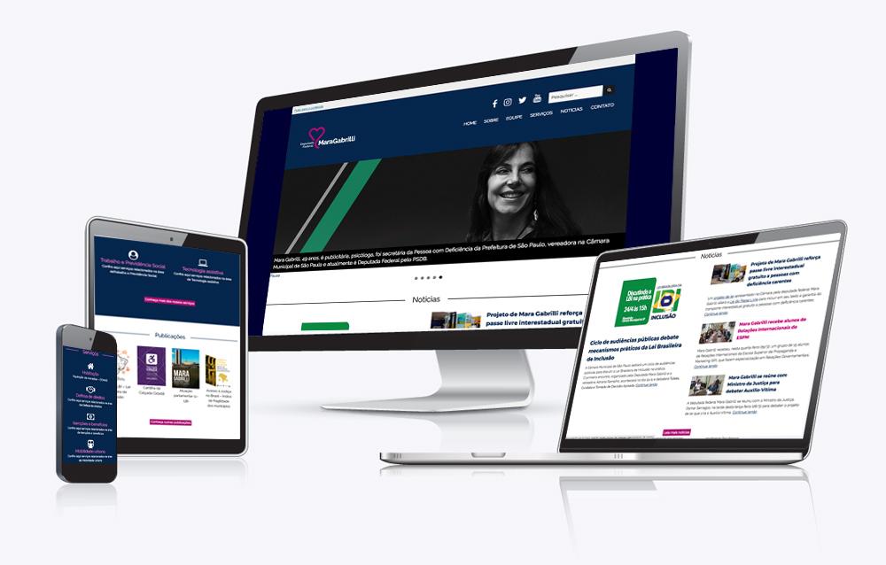 Site Mara Gabrilli em vários dispositivos, desktop,notebook, tablet e celular