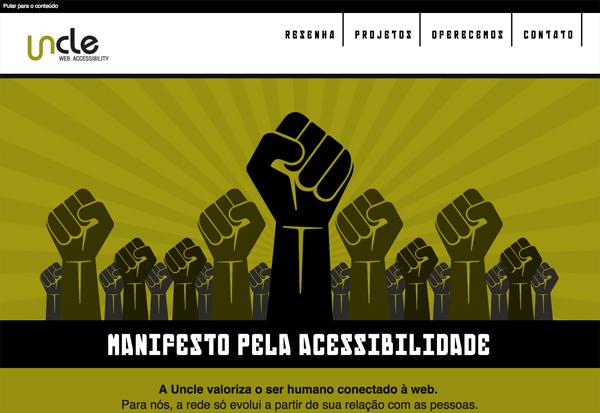 Print screen da tela inicial do site uncle.com.br simulando visão de uma pessoa com daltonismo
