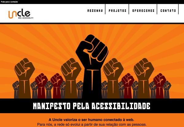 Print screen da tela inicial do site uncle.com.br