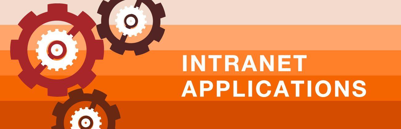 Ilustração de várias engrenagens em tons de vermelho escuro e em branco as palavras intranet e applications