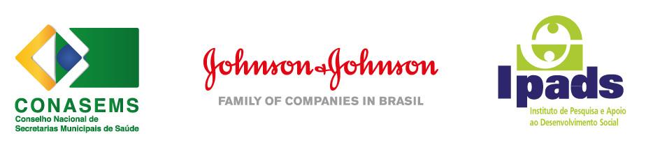 Logotipo das empresas CONASEMS, JohsonJohson e IPads